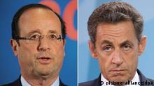 ARCHIV - Francois Hollande (Archivfoto vom 04.01.2012) und Nicolas Sarkozy (Archivfoto vom 17.06.2011). 100 Tage vor dem Urnengang in der zweitstärksten Volkswirtschaft der Euro-Zone haben die Medien in Deutschlands wichtigstem Partnerland die Umfrageinstitute befragt. Sarkozy hat nach einem Popularitätstief zwar kontinuierlich aufgeholt, liegt aber weiter hinter seinem größten Herausforderer, dem Sozialisten François Hollande. Foto: dpa