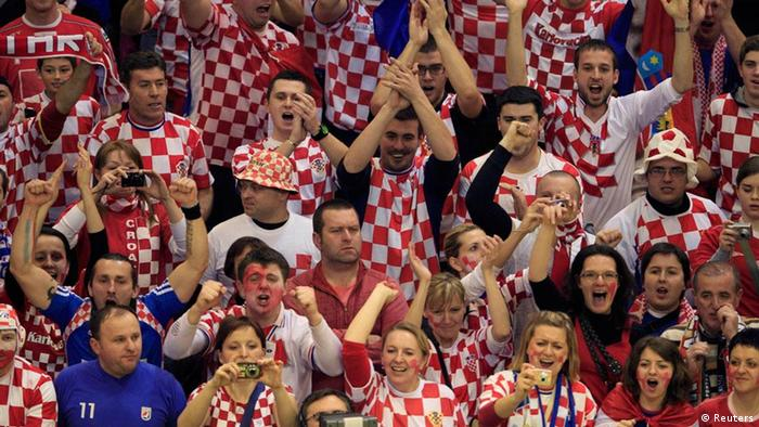 Croatia's fans cheer during game against France at their Men's European Handball Championship main round match in Novi Sad January 24, 2012. REUTERS/Laszlo Balogh (SERBIA - Tags: SPORT HANDBALL)