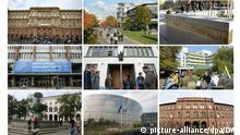 Elite-Universitäten in Deutschland: RWTH Aachen, FU Berlin, Uni Freiburg, Uni Göttingen, Uni Heidelberg, Uni Karlsruhe, Uni Konstanz, LMU München, TU München (Montage: DW)