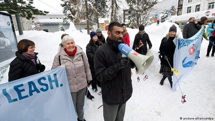 Demonstrators in Davos at the NGO-organized protest