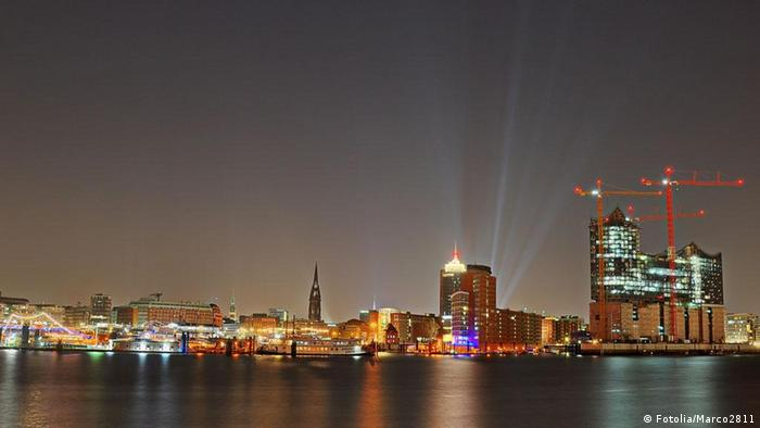 Hamburg at night.