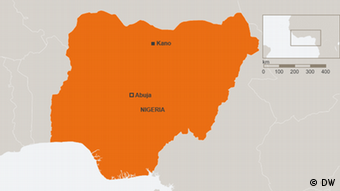 Map of Nigeria showing the northern city of Kano