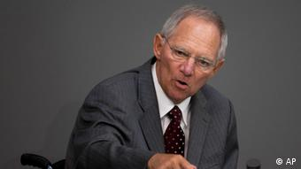 German Finance Minister Wolfgang Schaeuble delivers his speech on the bailout package of the Eurozone for Portugal during a debate at the German parliament Bundestag in Berlin Thursday, May 12, 2011. (AP Photo/Markus Schreiber)