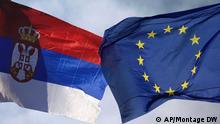 Fotomontage Flaggen Serbien EU Symbolbild