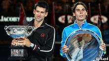 Novak Djokovic of Serbia, left, holds the championship trophy with runner-up Rafael Nadal of Spain during the awarding ceremony after Djokovic won the men's singles final at the Australian Open tennis championship, in Melbourne, Australia, early Monday, Jan. 30, 2012.(Foto:Rick Rycroft/AP/dapd)