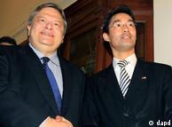 Le ministre grec des Finances, Evangélos Vénizélos (g.) et le ministre allemand de l'Économie,  Philipp Rösler