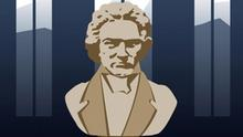 A bust of the composer Ludwig van Beethoven.