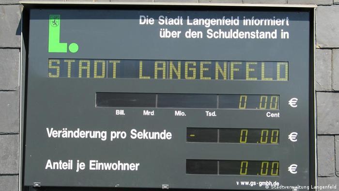 Schuldenuhr der Stadt Langenfeld (Foto: Stadtverwaltung Langenfeld)