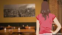Anna steht in einem Café und betrachtet ein Bild an der Wand.