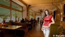Anna steht in einem Restaurant.