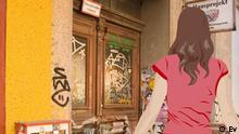 Anna vor einem mit Graffiti bemalten Hauseingang.