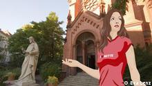 Anna steht vor einer Kirche und guckt umher.