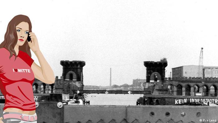 Anna steht vor einer Brückenruine und telefoniert.