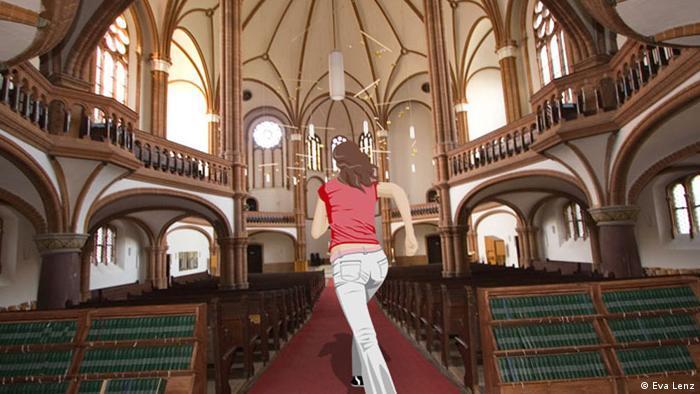 Anna rennt durch den Mittelgang einer Kirche.