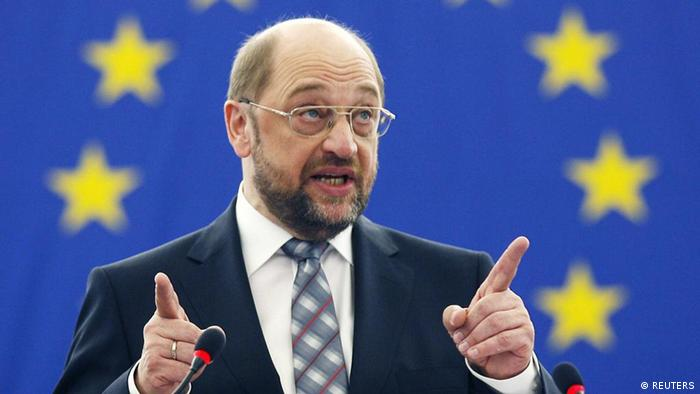 Martin Schulz of Germany addresses the assembly of the European Parliament after being elected the new president of the EU parliament in Strasbourg January 17, 2012. REUERS/Jean-Marc Loos (FRANCE - Tags: POLITICS)