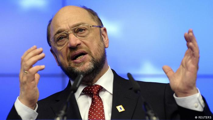 European Parliament President Martin Schulz holds a news conference during a European Union summit in Brussels January 30, 2012. European leaders will struggle to reconcile austerity with growth on Monday at a summit due to approve a permanent rescue fund for the euro zone and put finishing touches to a German-driven pact for stricter budget discipline. REUTERS/Eric Vidal (BELGIUM - Tags: POLITICS BUSINESS)