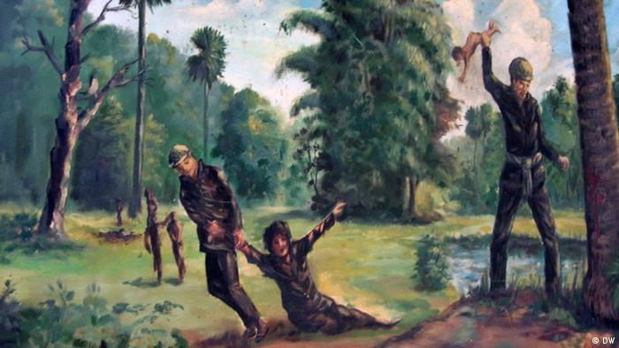 Das vermutlich von einem Häftling gemalte Bild lässt die Schreckensherrschaft der Roten Kkmer erahnen (Foto: DW)