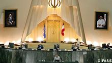 The Iranian parliament in session before parliamentary elections on March 2