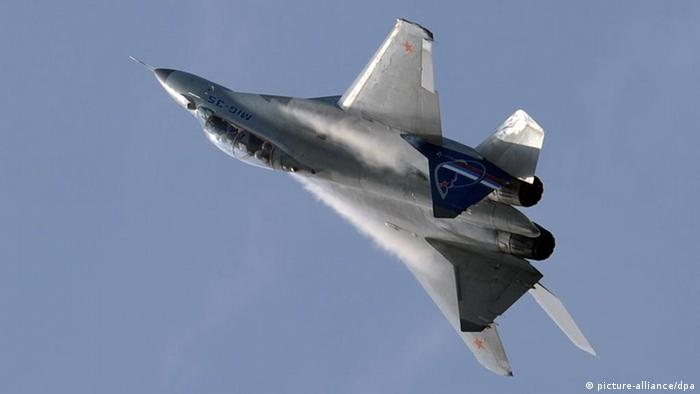 A MiG-35 Russian multi-purpose jet fighter performs a demonstration flight at the MAKS-2011 international air show in Zhukovsky near Moscow.