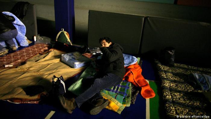 Obdachlose in Athen Griechenland