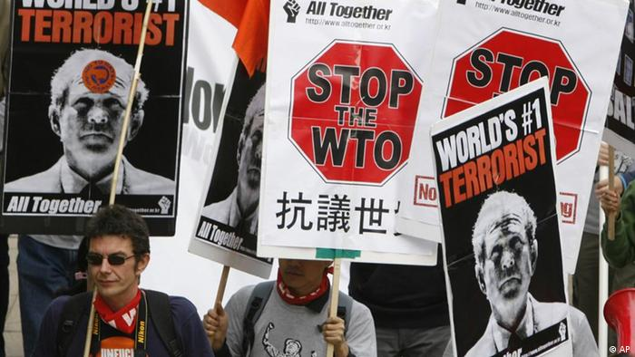 Anti-WTO Protestaktion in Hong Kong (Foto: AP)