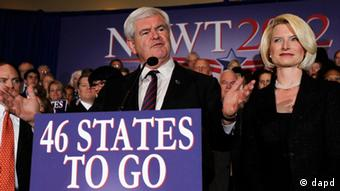 Republican presidential candidate former House Speaker Newt Gingrich accompanied by his wife Callista speaks during a Florida Republican presidential primary night rally, Tuesday, Jan. 31, 2012, in Orlando, Fla. (AP Photo/Matt Rourke)