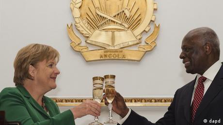 German Chancellor Angela Merkel and President dos Santos