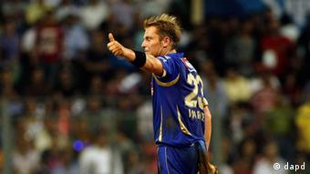 Former Australian cricketer Shane Warne playing in an IPL match