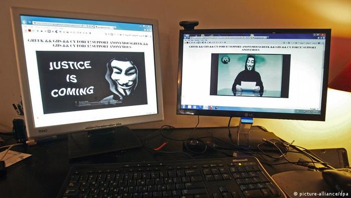 epa03089893 The main website of the Greek Ministry of Justice in Athens, Greece, is seen hacked by Anonymous members from Greece and Cyprus warning that they will attack other ministries and press websites, on 03 February 2012. EPA/SIMELA PANTZARTZI +++(c) dpa