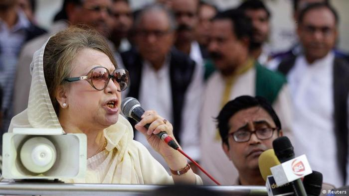 Bangladesh Nationalist Party (BNP) Chairperson Begum Khaleda Zia speaks during a rally before a mass procession in front of their party office in Dhaka January 30, 2012. The main opposition Bangladesh Nationalist Party, BNP and its alliance rescheduled its mass procession demanding the restoration of the caretaker government system, after police banned rallies and processions in the capital and four other cities on Saturday amid fears of violent clashes between the rival parties, local media reported. REUTERS/Andrew Biraj (BANGLADESH - Tags: POLITICS)