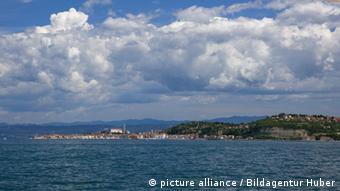 Blick nach Piran Slowenien Bucht von Piran