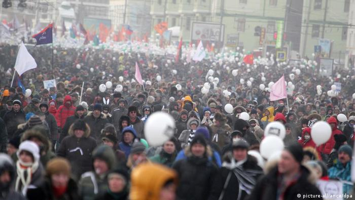 People in an opposition rally in Moscow