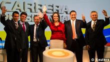 A picture dated January 23, 2012 showsVenezuela's opposition Democratic Unity coalition potential presidential candidates (L-R): Miranda state Governor Henrique Capriles Radonski, former Chacao Mayor Leopoldo Lopez, former diplomat Diego Arria, legislator Maria Corina Machado, Zulia state Governor Pablo Perez and former union leader Pablo Medina attend a third debate in Caracas January 23, 2012. The opposition coalition will determine their presidential candidate in a primary election on February 12, 2012. REUTERS/Carlos Garcia Rawlins (VENEZUELA - Tags: POLITICS ELECTIONS)