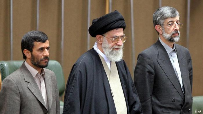 محمود احمدینژاد، علی خامنهای و غلامعلی حدادعادل