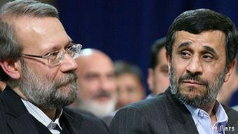 Ali Ardashir Larijani is an Iranian philosopher, politician and the chairman of the Iranian parliament, Mahmoud Ahmadinejad is the sixth and current President of the Islamic Republic of Iran. Zugeliefert durch Mehdi Mohseni am 6.5.2011. Copyright: Fars