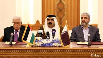 Abbas, Qatar's emir Hamad bin Khalifa Al Thani and and Hamas chief Khaled Mashaal