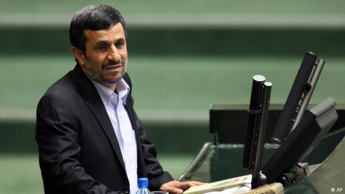 Iranian President Mahmoud Ahmadinejad speaks in support of his nominee for the post of minister of sport and youth, in an open session of parliament in Tehran, Iran, Tuesday, June 21, 2011. The parliament rejected Ahmadinejad's nominee for the post of minister of sport and youth, with 137 out of 247 lawmakers present in the parliament voting against Hamid Sajjadi. (AP Photo/Vahid Salemi)