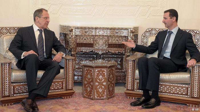 سرگئی لاوروف وزیر خارجه روسیه در ملاقات با بشار اسد