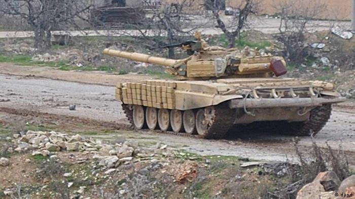 Syrian tank on street
