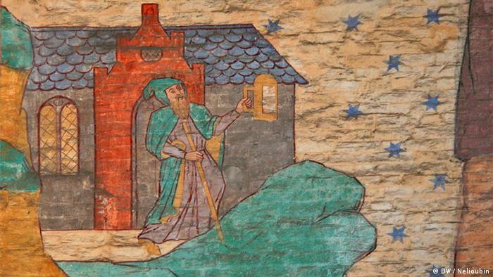 Отшельник, указавший Святому Христофору путь служения Богу. Роспись в Висмаре