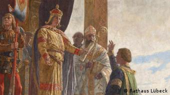 Император Фридрих II дарует Любеку статус вольного имперского города в 1226 году. Роспись парадной лестницы в городской Ратуше