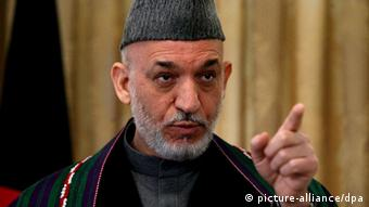 Afghan President Hamid Karzai, talks with journalists during a press conference in Kabul Afghanistan on 31 January 2010. President Karzai breifed the media about his recent visit to London, in which he attended an international, London Conference on Afghanistan. EPA/S. SABAWOON