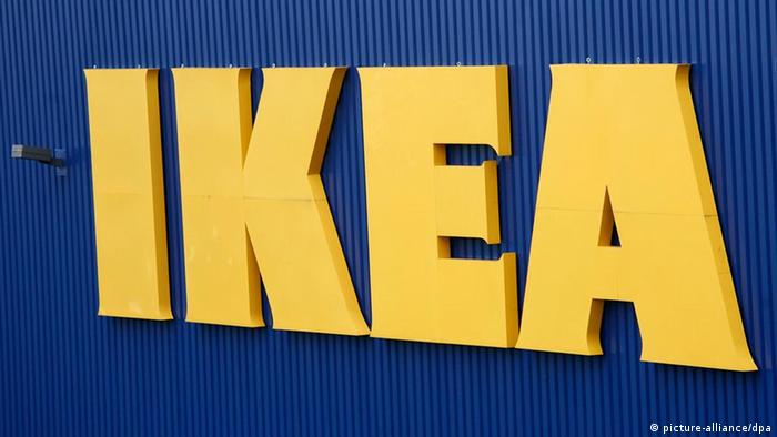 The IKEA logo on the side of a store