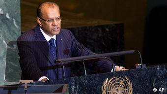 Prime Minister of Mauritius Navinchandra Ramgoolam speaks at the 66th United Nations General Assembly at U.N. headquarters, Saturday, Sept. 24, 2011. (AP Photo/John Minchillo)