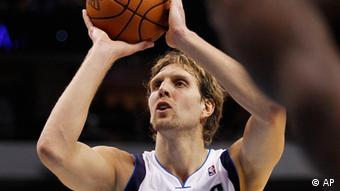 Dallas Mavericks forward Dirk Nowitzki of Germany (41) during an NBA basketball game against the Oklahoma City Thunder Monday, Jan. 2, 2012, in Dallas. (AP Photo/Tim Sharp)