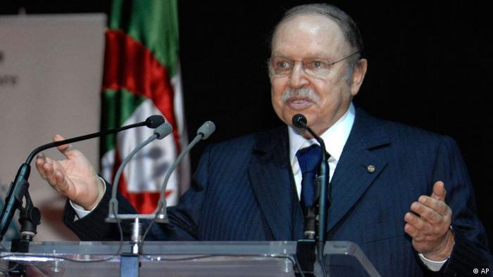 Algeria's President Abdelaziz Bouteflika, delivers a speech during the inauguration of Tlemcen as capital of the Islamic culture, in Tlemcen, 520 kms (325 miles) south-west of Algiers, Saturday, April 16, 2011. In a television speech Bouteflika announced democratic reforms Friday. ( AP Photo/Sidali Djarboub )