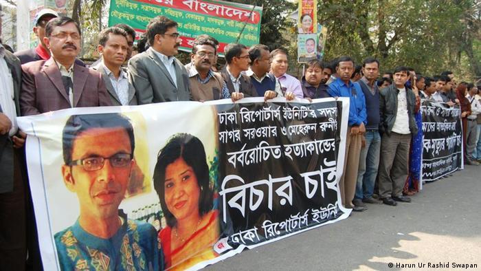 Bangladeş'te gazeteci cinayetlerini protesto gösterisi