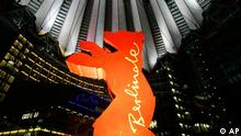 The Berlin bear as the logo of the 56th Berlinale International Film Festival is displayed inside the Sony center complex at the Potsdamer Platz square in Berlin, Thursday, Feb. 9, 2006. The Film Festival will run until Sunday, Feb. 19, 2006. (AP Photo/Franka Bruns)