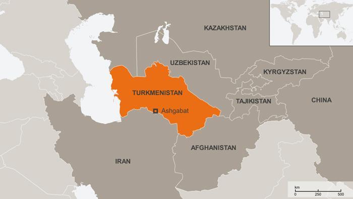 Karte Turkmenistan und Nachbarländer Englisch