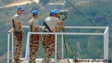 U.N. peace keepers on the Golan heights, between Syrian villages and those occupied by Israel, as seen on September 20, 2005. Syria is under heavy pressure from the U.S. for its support to Iraqi insurgents as well as a possible role in the assassination of former Lebanese Prime Minister Rafiq Hariri. Photo by Ammar Abd Rabbo/ABACAPRESS.COM +++(c) dpa - Report+++